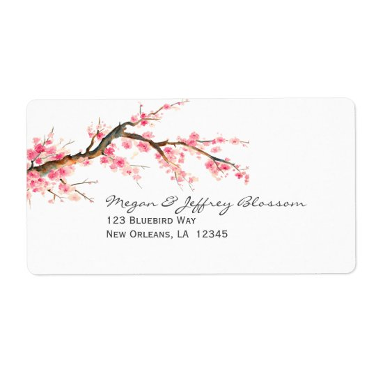 Watercolor Cherry Blossom Tree Branch Shipping Label