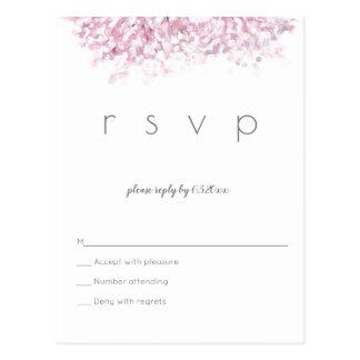 Watercolor cherry blossom wedding rsvp postcards
