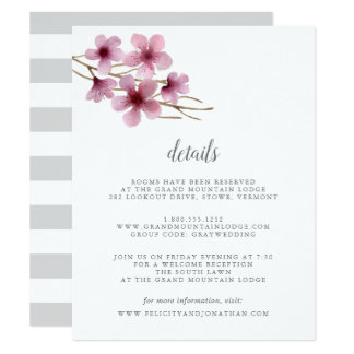 Watercolor Cherry Blossoms Guest Details Card