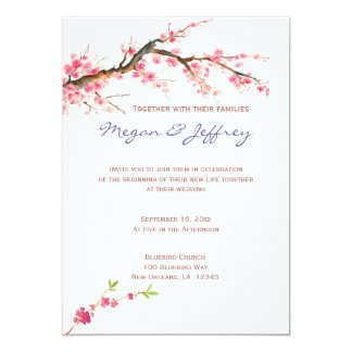 "Watercolor Cherry Blossoms in pink and cream 5"" X 7"" Invitation Card"