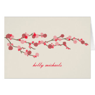 Watercolor Cherry Blossoms Personalized Notecards Card