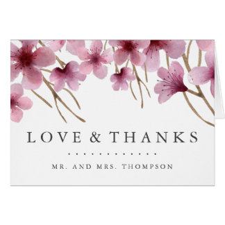 Watercolor Cherry Blossoms Thank You Card