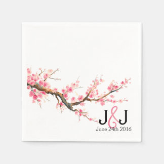 Watercolor Cherry Blossoms Wedding Custom Napkins Paper Napkin
