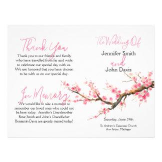 Watercolor Cherry Blossoms Wedding Program Flyer