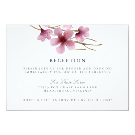 Watercolor Cherry Blossoms Wedding Reception Card