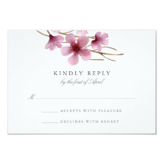 Watercolor Cherry Blossoms Wedding RSVP Card