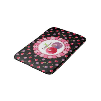 Watercolor Cherry Pattern Personalized Bath Mat