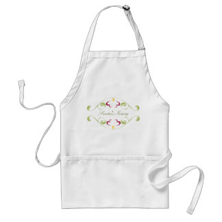 Watercolor Cherry Red Blooms Apron
