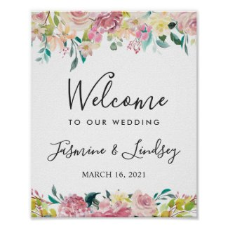 Watercolor Chic Blush Floral Wedding Welcome Sign