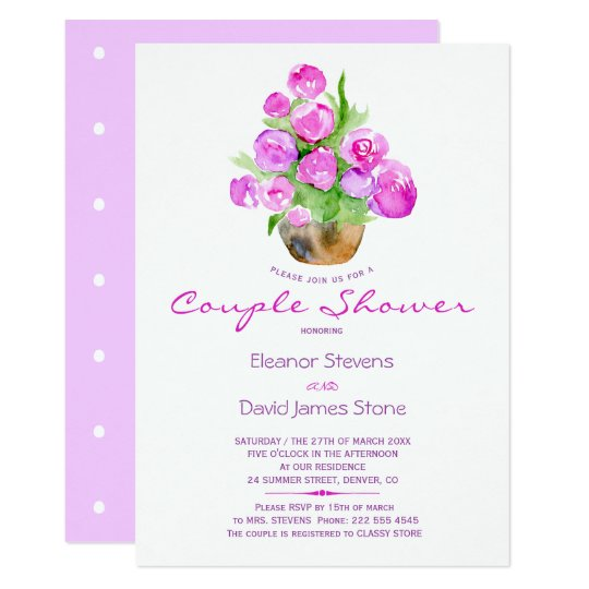 Watercolor chic lilac violet rustic couple shower card
