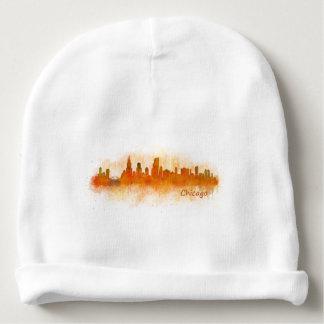 watercolor Chicago skyline cityscape v03 Baby Beanie