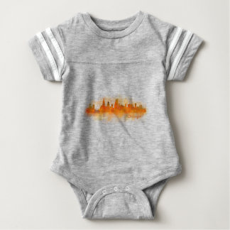 watercolor Chicago skyline cityscape v03 Baby Bodysuit