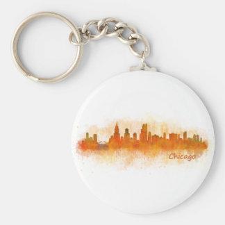 watercolor Chicago skyline cityscape v03 Keychain