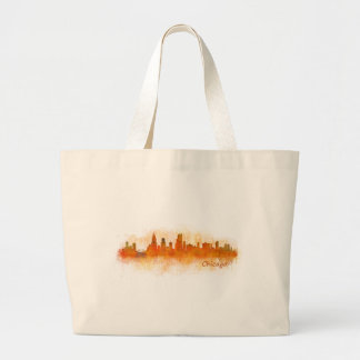 watercolor Chicago skyline cityscape v03 Large Tote Bag
