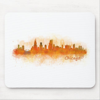 watercolor Chicago skyline cityscape v03 Mouse Pad