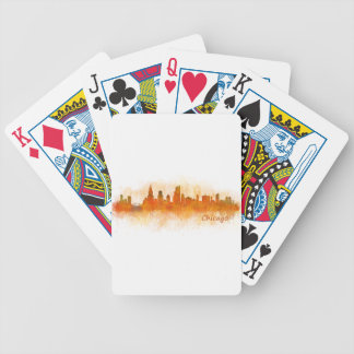 watercolor Chicago skyline cityscape v03 Poker Deck