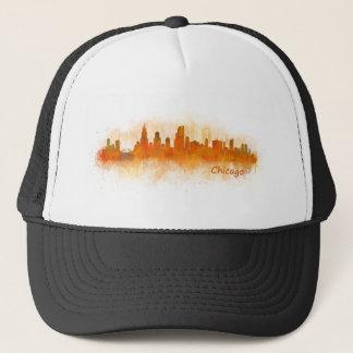 watercolor Chicago skyline cityscape v03 Trucker Hat