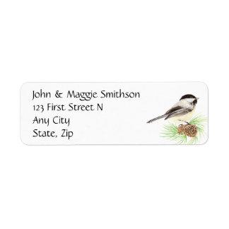 Watercolor Chickadee Address Name Label Customize Return Address Label