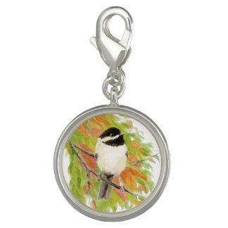 Watercolor Chickadee Bird Animal Nature Art Charm