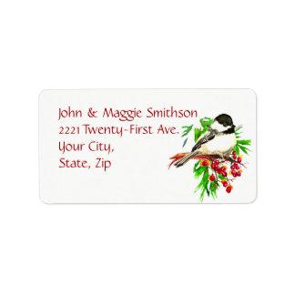 Watercolor Chickadee Bird Bittersweet Berries Pine Label