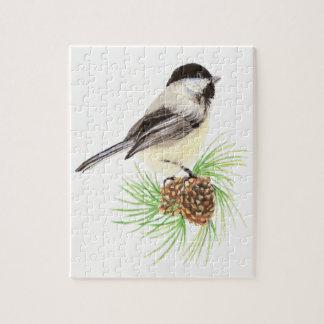 Watercolor Chickadee Bird Nature art Jigsaw Puzzle