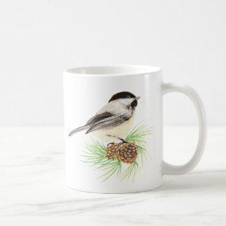 Watercolor Chickadee Bird & Pine Nature art Coffee Mug