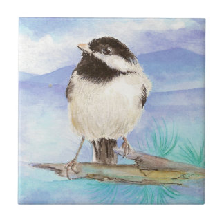 Watercolor Chickadee Cute Little Bird Art Tile