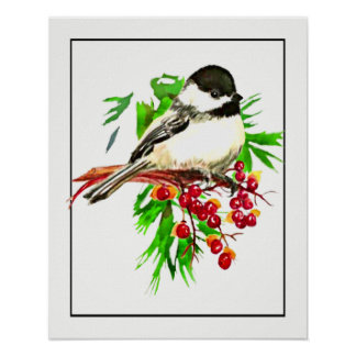 Watercolor Chickadee Pine & Bittersweet Berries Poster