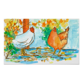 Watercolor Chicken Hens Fall Leaves Poster