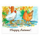 Watercolor Chickens Happy Autumn Postcard