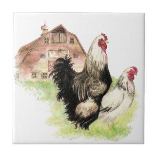Watercolor Chickens Hen & Rooster Farm Bird Art Ceramic Tile