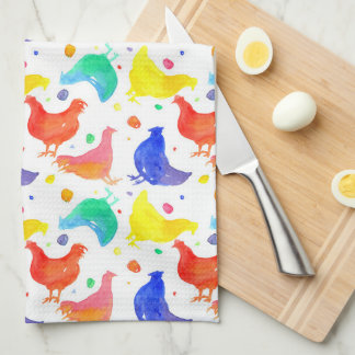 Watercolor Chickens Rainbow Colors Towel