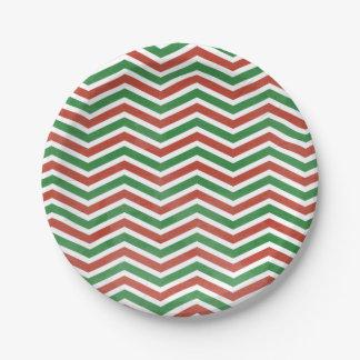 Watercolor CHristmas Chevron Paper Plate