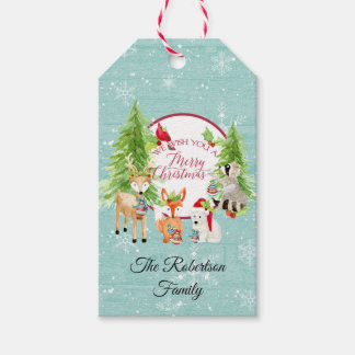 Watercolor Christmas Cute Woodland Forest Animals Gift Tags