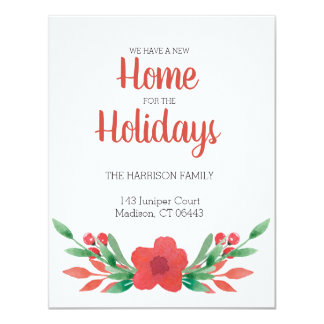 Watercolor Christmas Floral Moving Announcement
