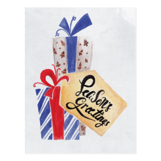 Watercolor Christmas Gifts Corporate Holiday Card Postcard