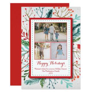 Watercolor Christmas Holiday three (3) photo card