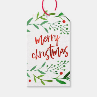 Watercolor Christmas Holly Gift Tags