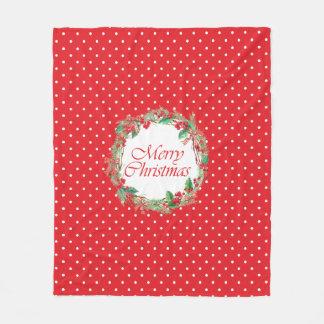 Watercolor Christmas Holly & Gingham Bow Wreath Fleece Blanket