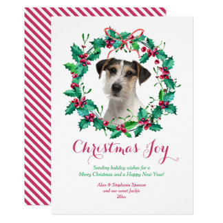Watercolor Christmas Holly Wreath Card