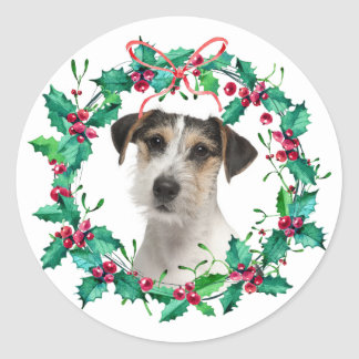 Watercolor Christmas Holly Wreath Holiday Photo Classic Round Sticker