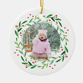 Watercolor Christmas Holly Wreath Round Ceramic Ornament