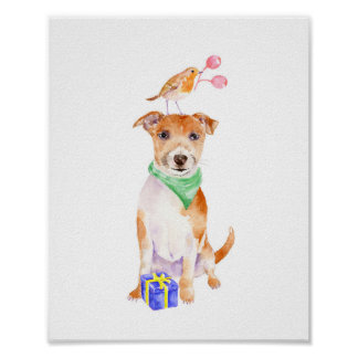 Watercolor Christmas Jack Russell and Robin Poster