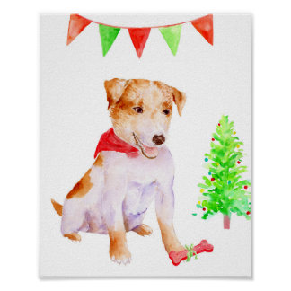Watercolor Christmas Jack Russell Dog Art Print