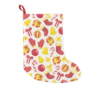 Watercolor Christmas Pattern Small Christmas Stocking