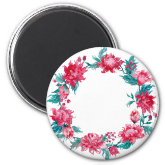 Watercolor Christmas peony wreath 2 Inch Round Magnet