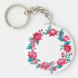 Watercolor Christmas peony wreath Basic Round Button Keychain