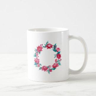 Watercolor Christmas peony wreath Coffee Mug