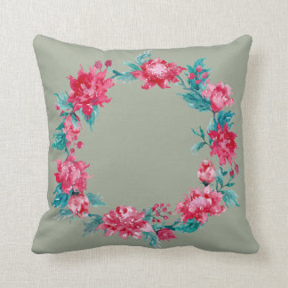 Watercolor Christmas Peony Wreath Cushion