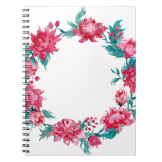 Watercolor Christmas peony wreath Note Book
